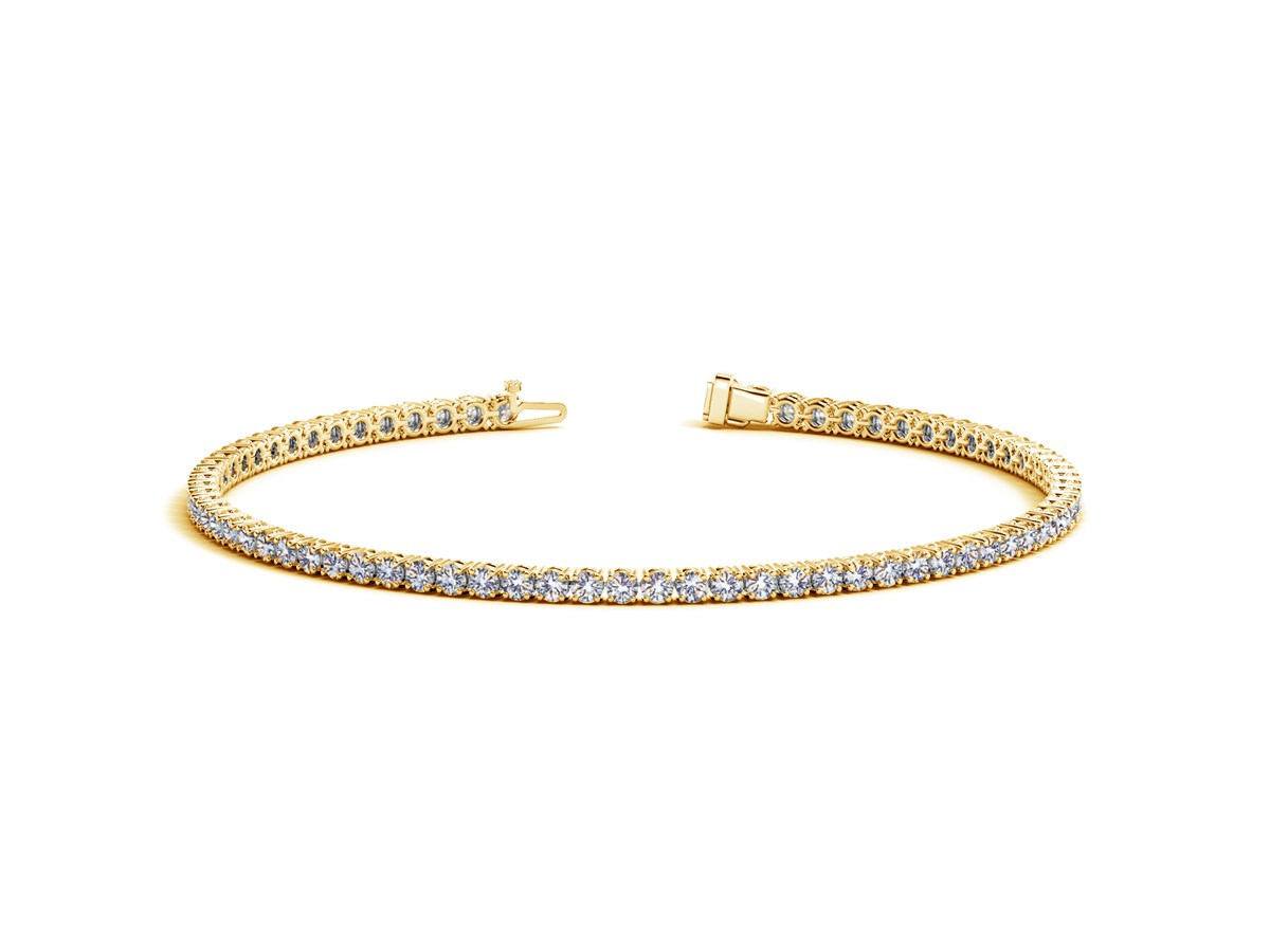round diamond tennis bracelet in 14k yellow gold 2 cttw. Black Bedroom Furniture Sets. Home Design Ideas
