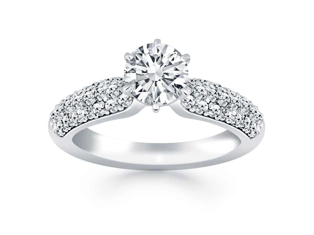 1 Carat Cubic Zirconia White Gold Engagement Rings