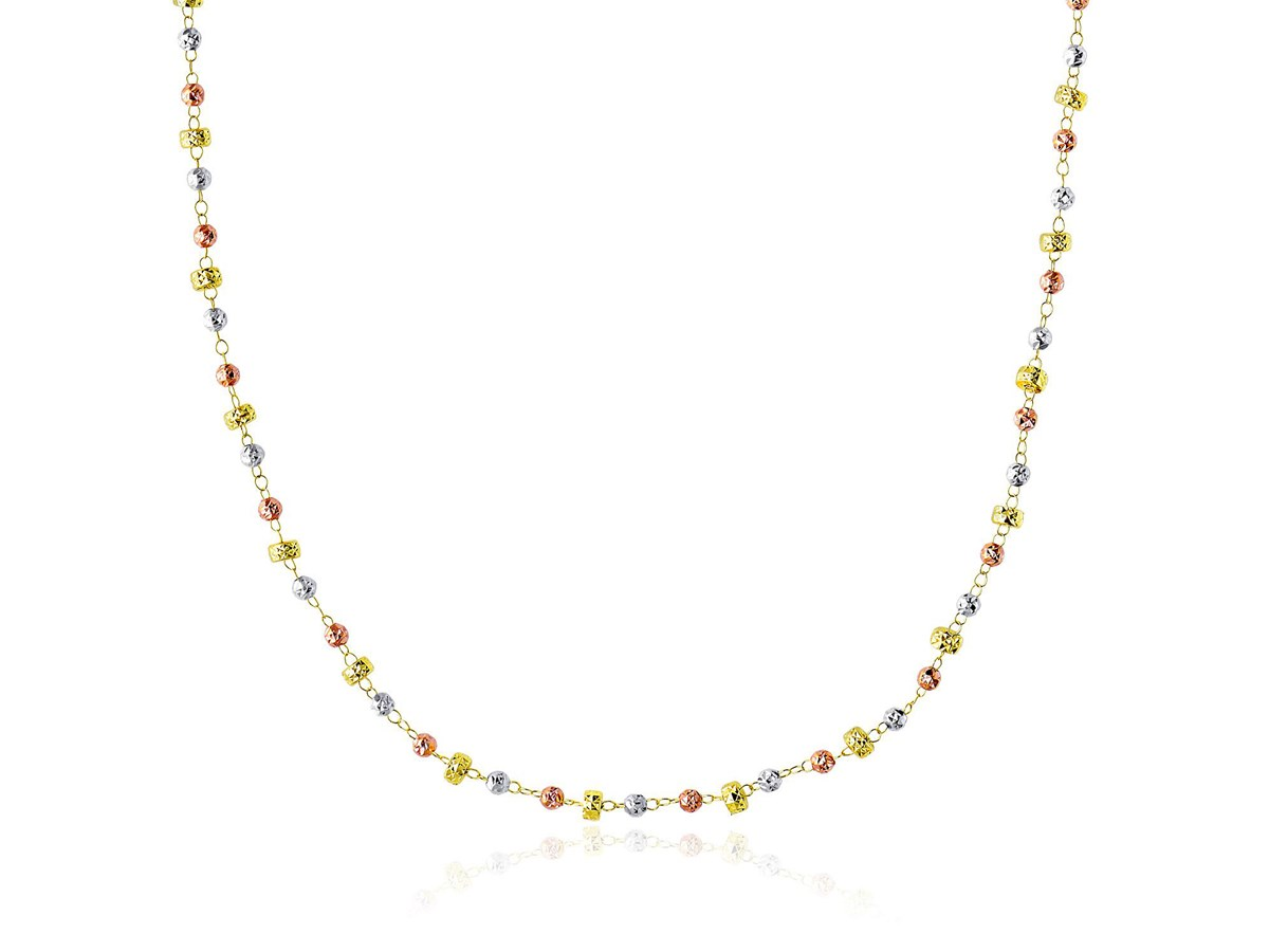 Faceted Barrel and Round Bead Chain Necklace in 14k Tri-Color Gold - Richard Cannon Jewelry
