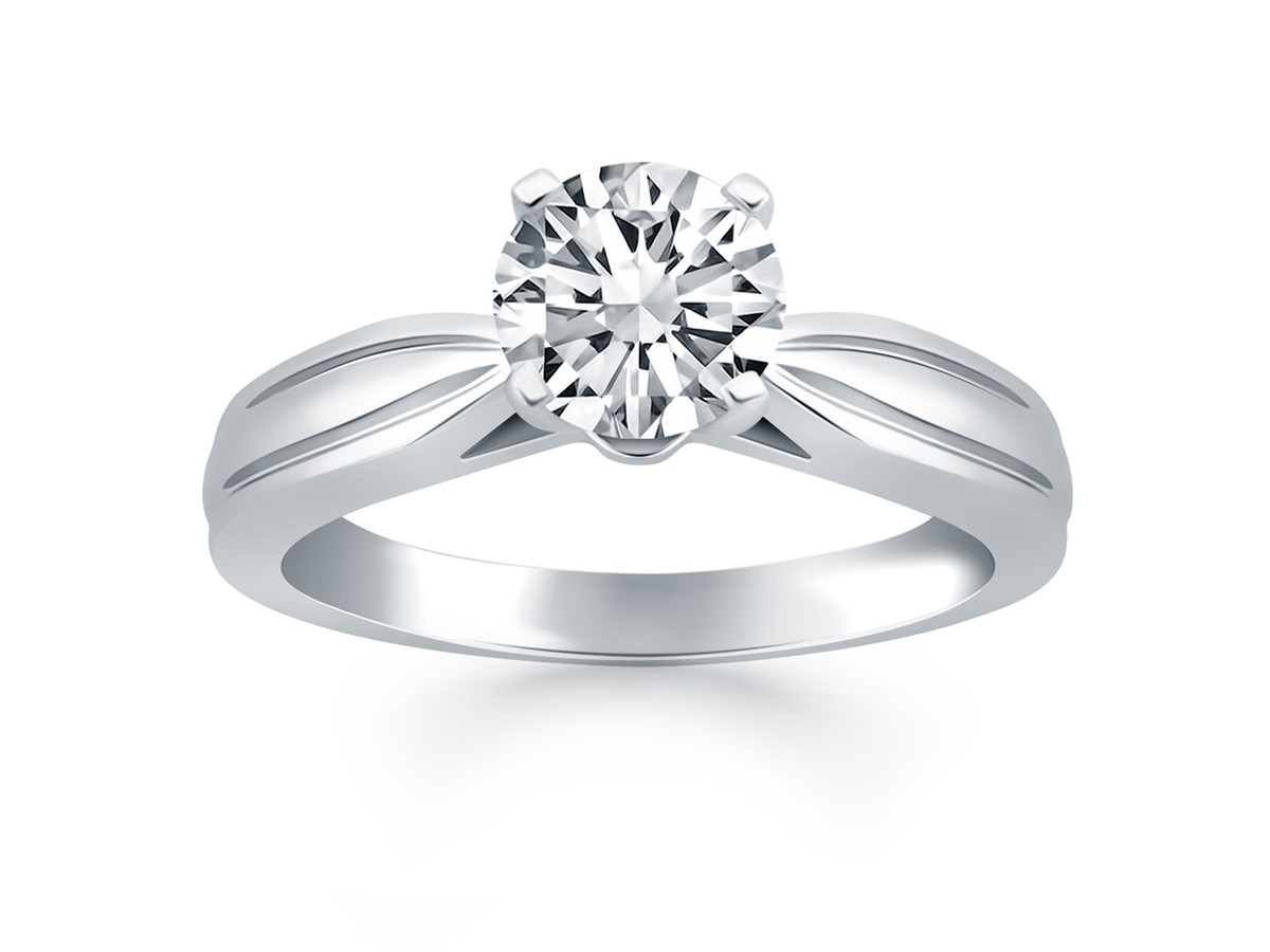 Tapered Engagement Solitaire Ring Setting In 14k White