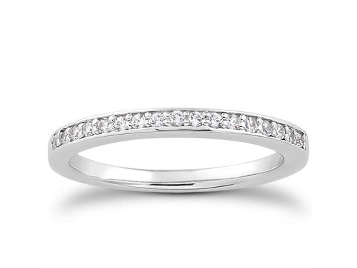 micro pave diamond wedding ring band in 14k white gold