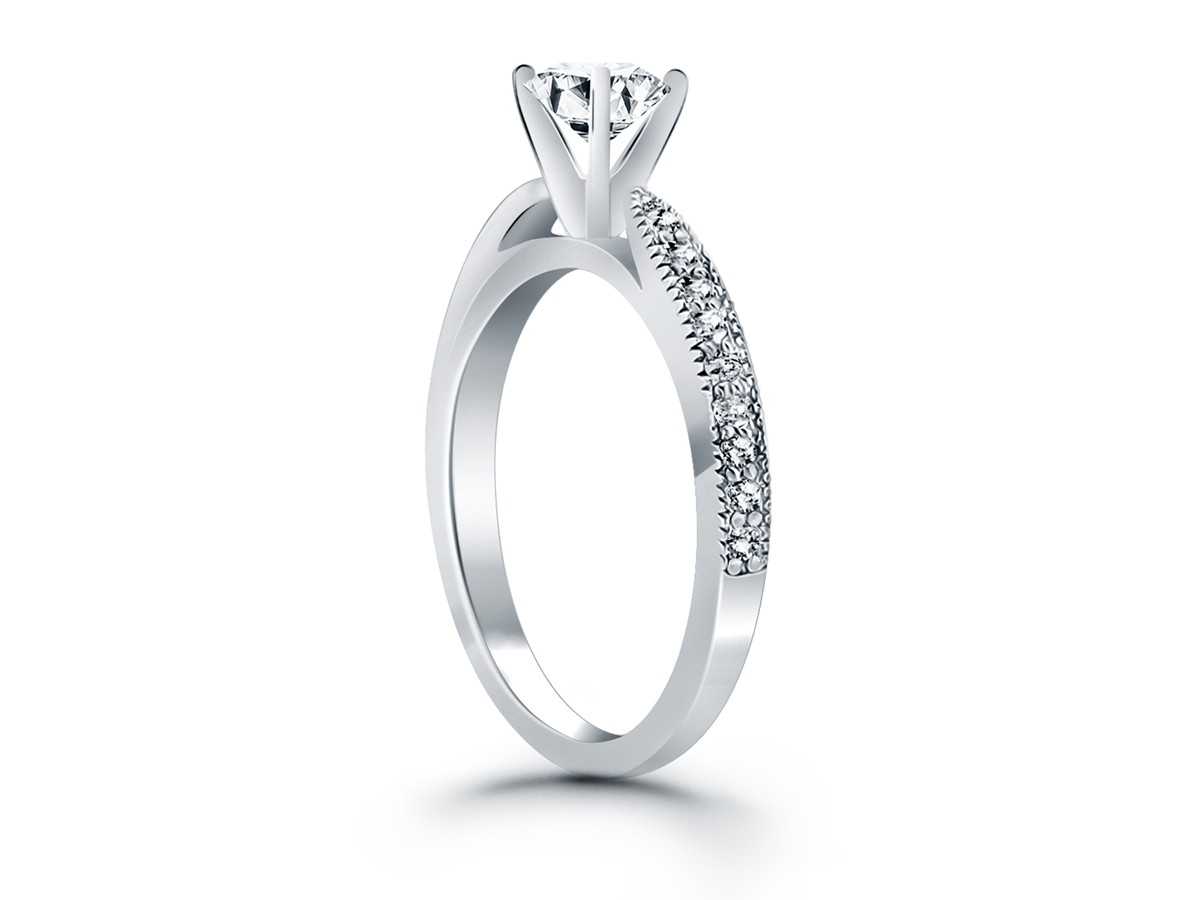 Diamond Pave Cathedral Engagement Ring Mounting In 14k White Gold
