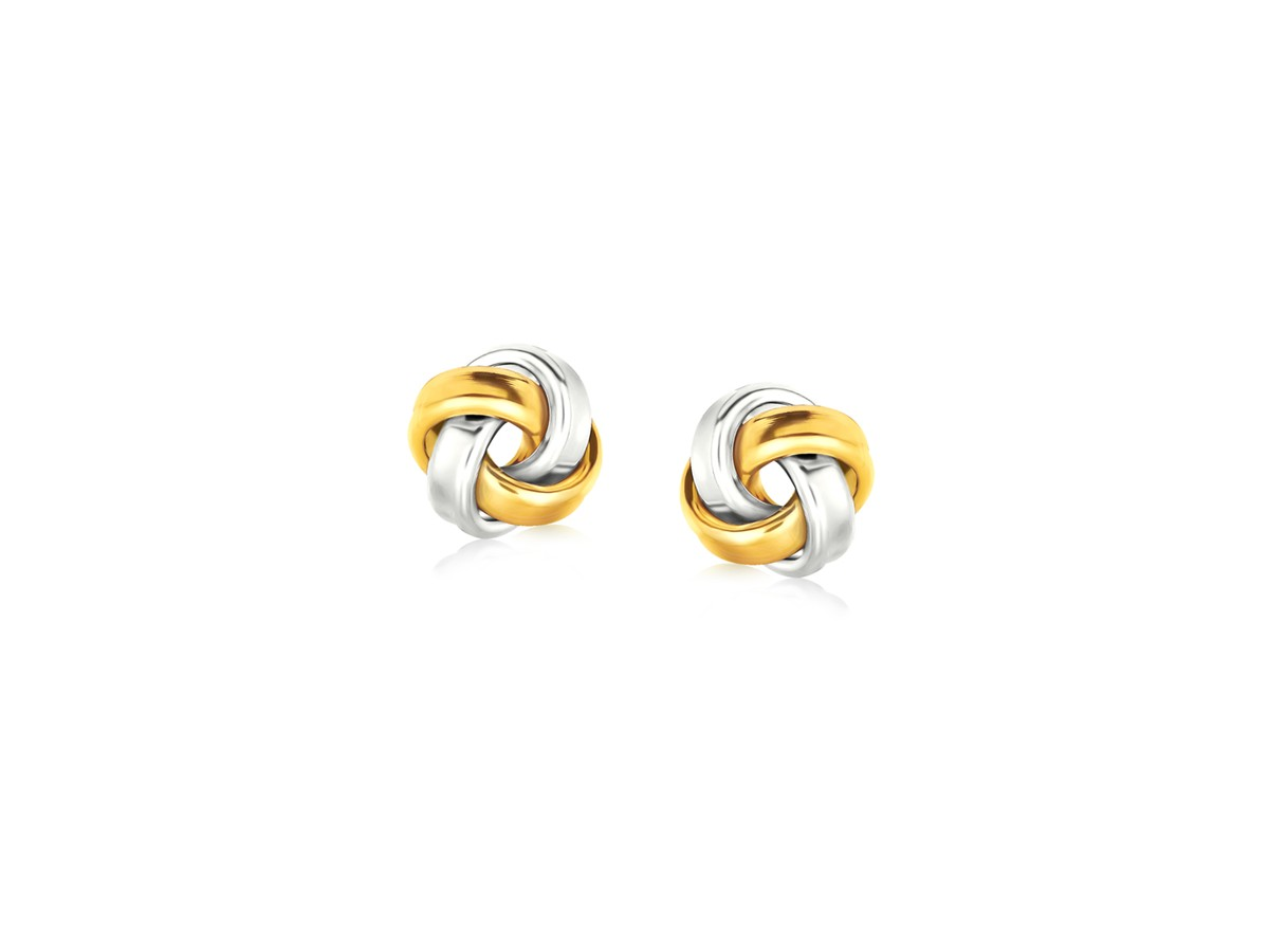 Small Love Knot Earrings in Sterling Silver and 14K Yellow Gold ...