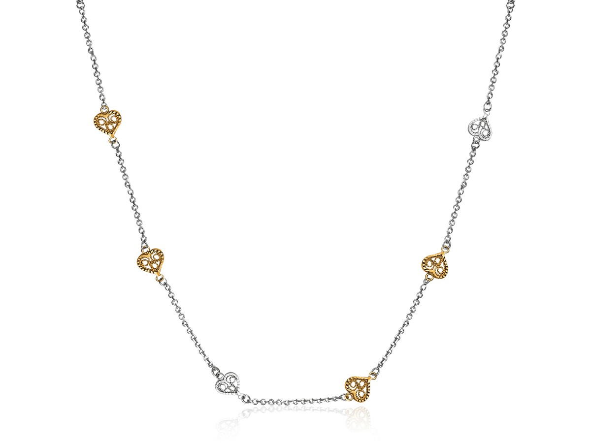 Fancy Heart Stationed Necklace In 14k Yellow Gold And