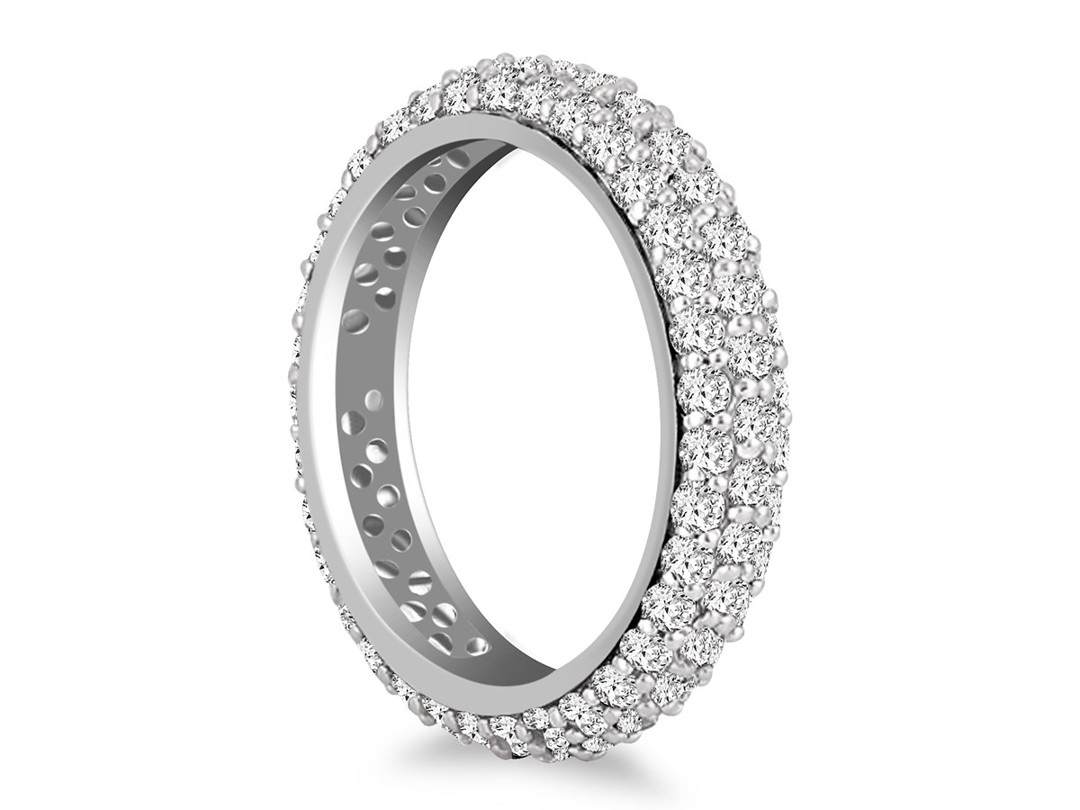 Domed Pave Set Round Diamond Eternity Ring In 14k White