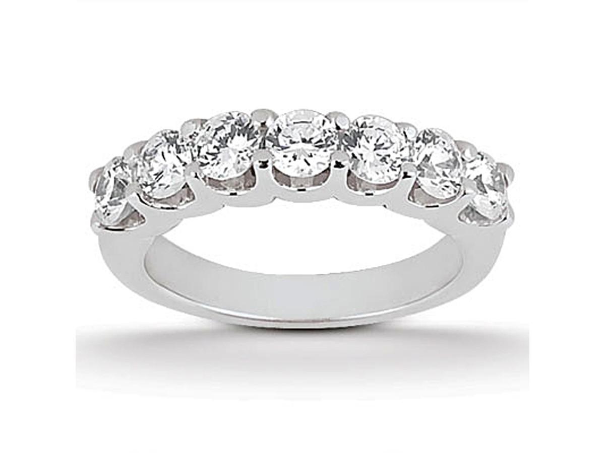 shared u prong setting wedding ring band 14k white