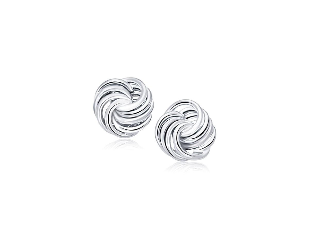 medium rosette love knot stud earrings in 14k white gold. Black Bedroom Furniture Sets. Home Design Ideas