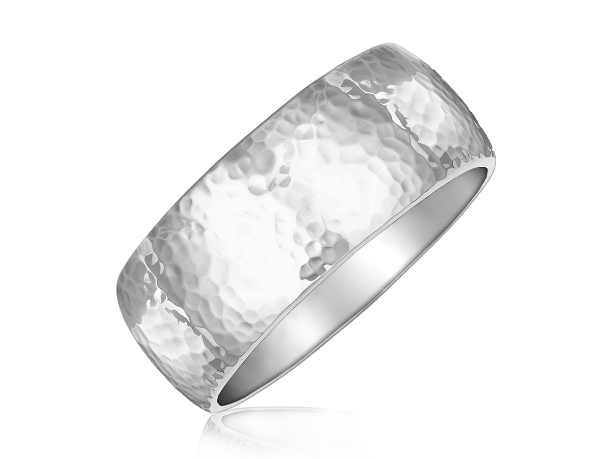 Fancy Hammered Thick 8 1 2 Quot Slip On Bangle In Rhodium