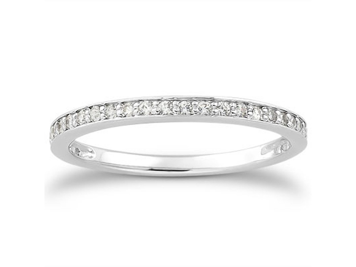 micro pave wedding ring band in 14k white gold