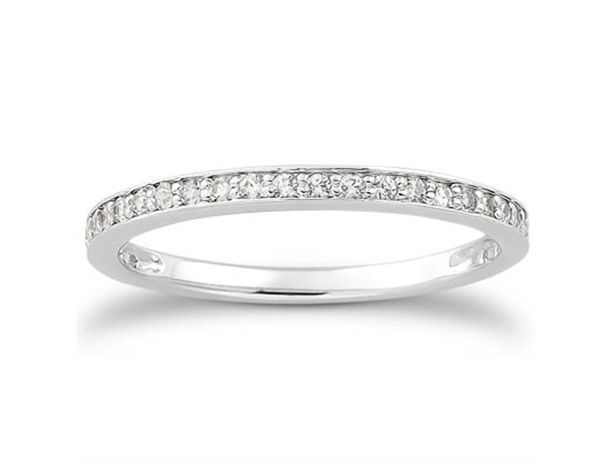 Diamond Micro Pave Wedding Ring Band In 14k White Gold