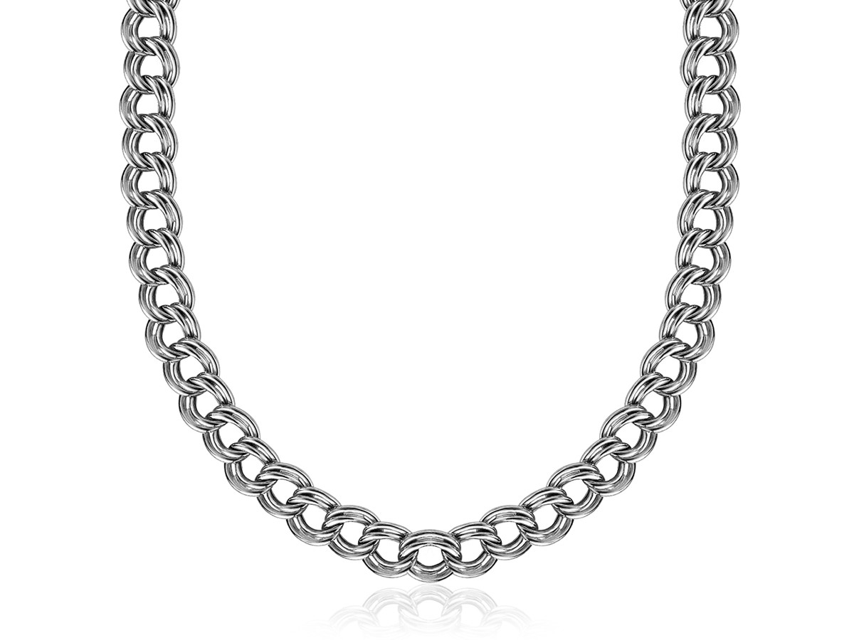 Double Curb Chain Necklace In Rhodium Plated Sterling