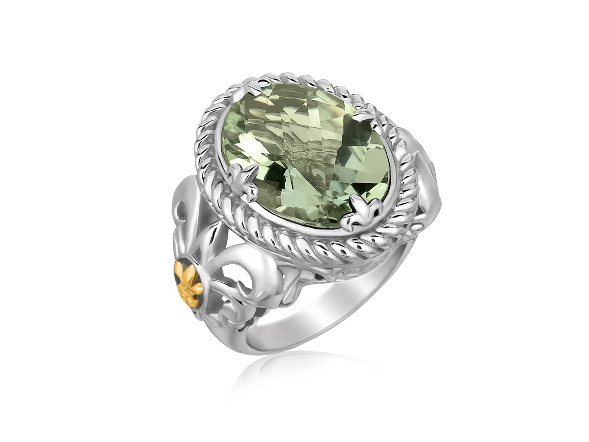 Oval Green Amethyst Ring With Fleur De Lis Shank In 18k