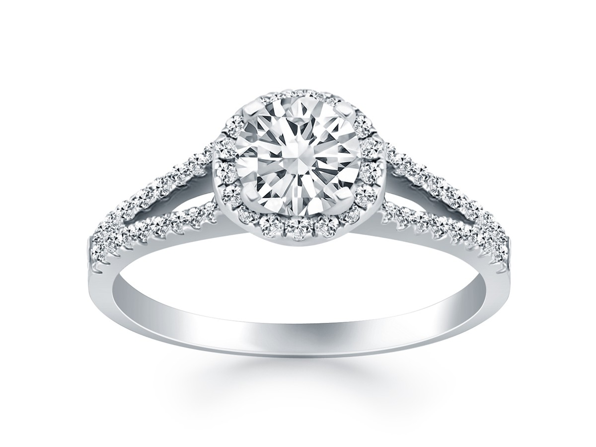 split shank engagement ring with wedding band halo split shank engagement ring mounting in 14k 7619