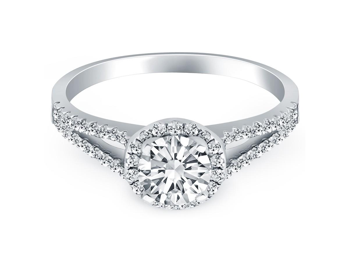 Diamond halo split shank engagement ring mounting in 14k for Split shank engagement ring with wedding band