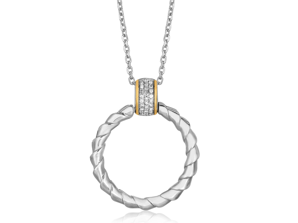 Spiral Ribbon Design Diamond Accented Ring Pendant In K Yellow Gold