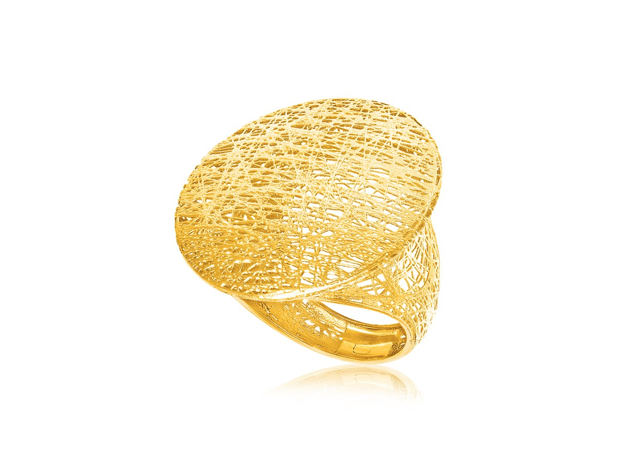 Mesh Disc Like Ring In 14k Yellow Gold Richard Cannon