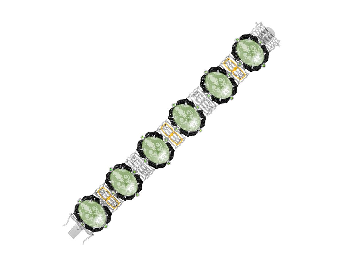 Bracelet With Green Amethyst Tsavorite And Black