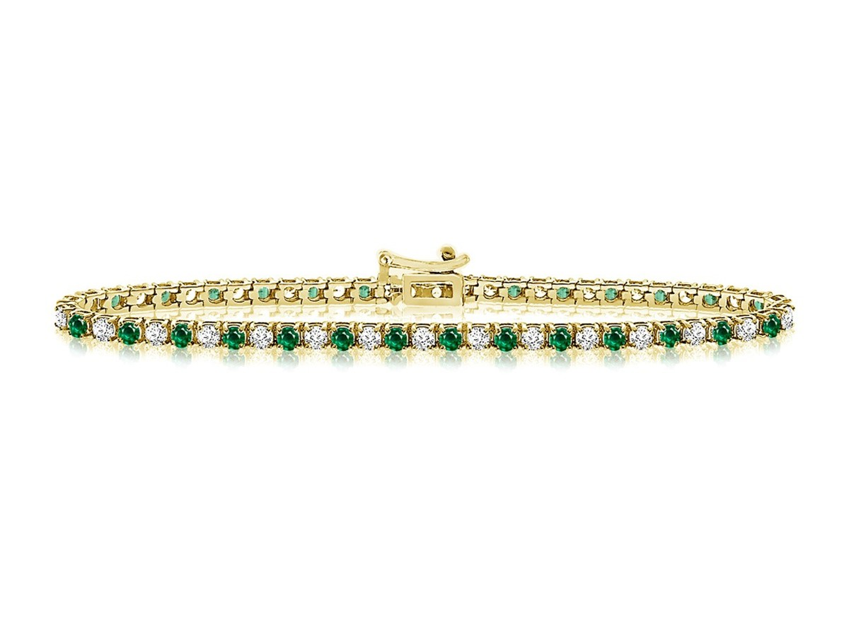 Diamond Tennis Bracelet With Emeralds In 14k Yellow Gold