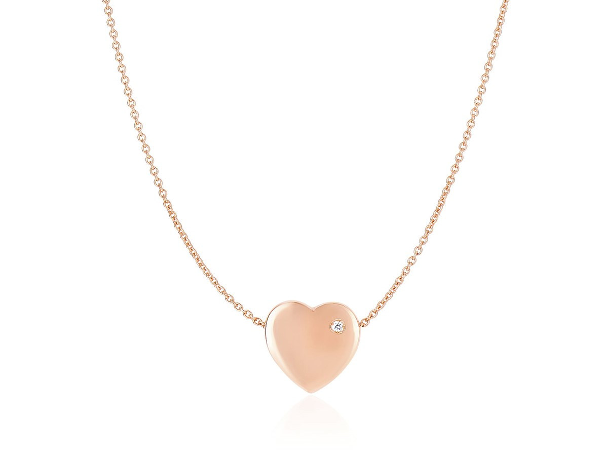 Diamond Encrusted Flat Heart Charm Chain Necklace In 14k