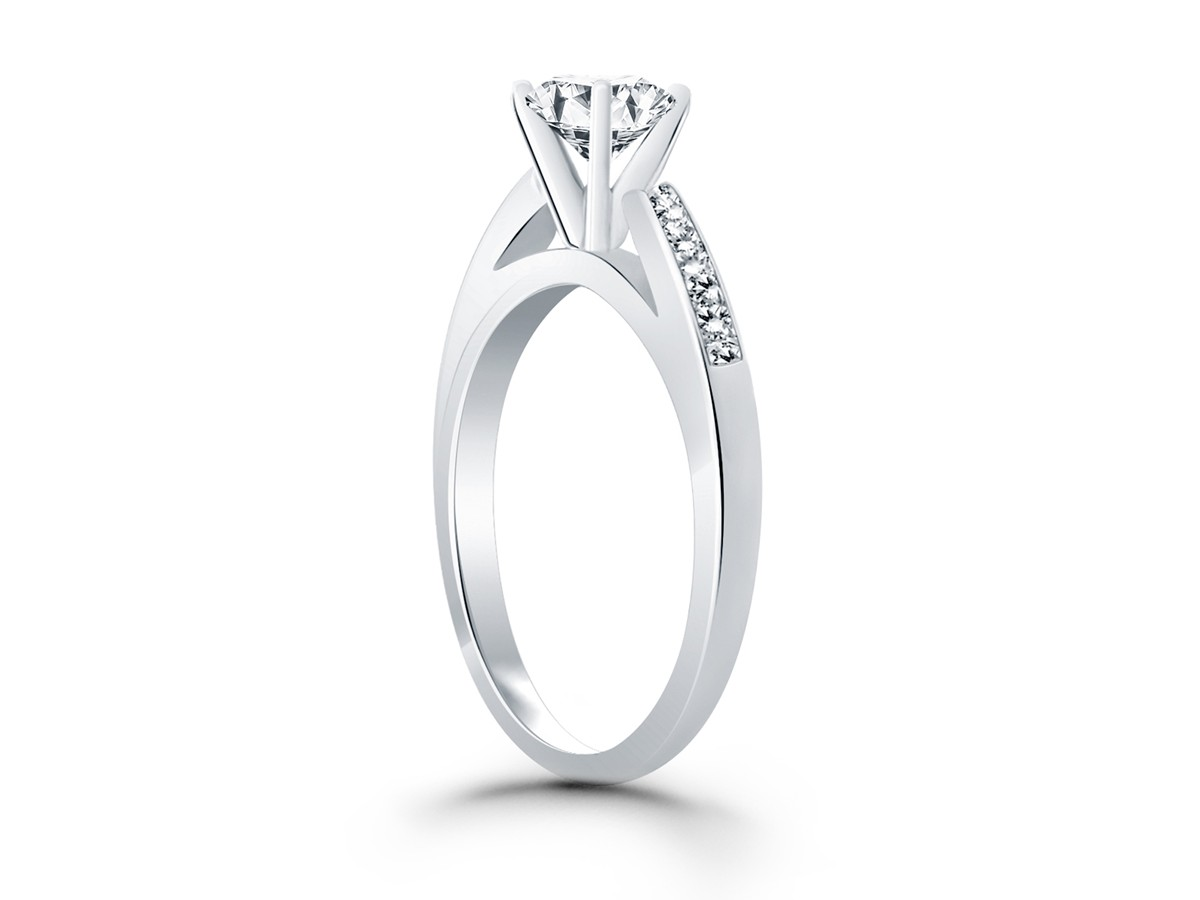cathedral channel set engagement ring mounting with princess cut