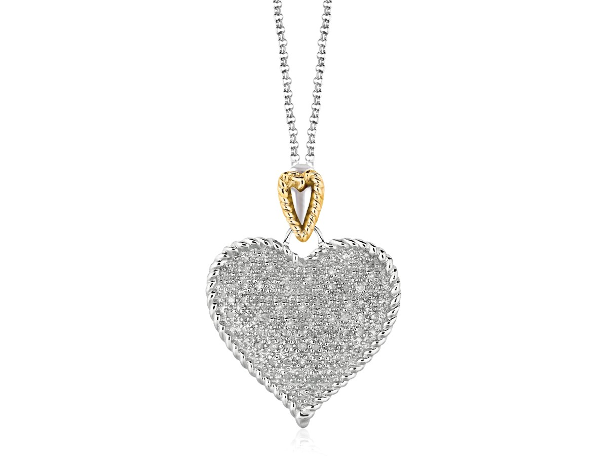 Heart Shape Pave Diamond Pendant In Sterling Silver And