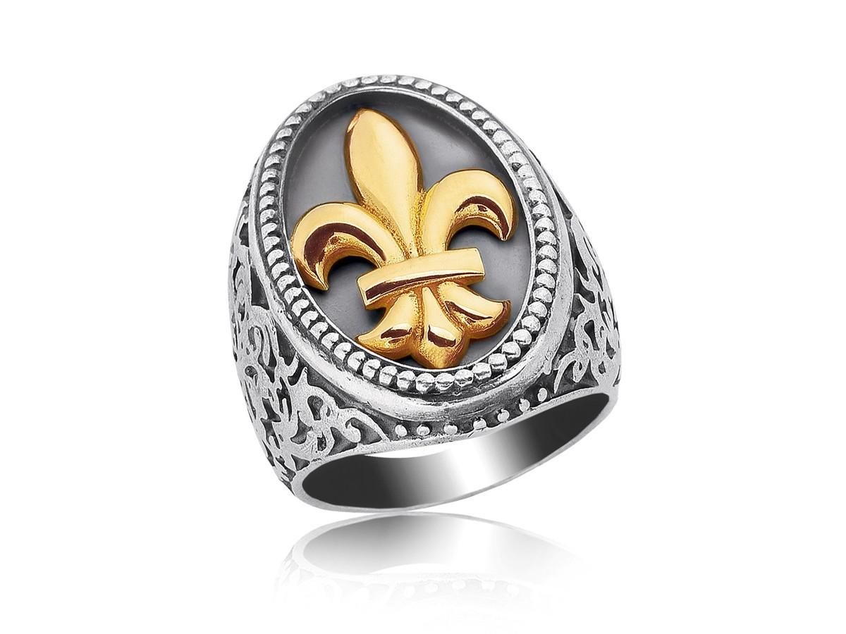 Fleur De Lis Filigree Ring In 18k Yellow Gold Amp Sterling