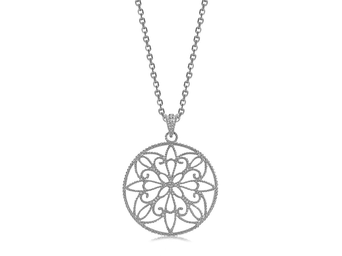 filigree style pendant in rhodium plated sterling