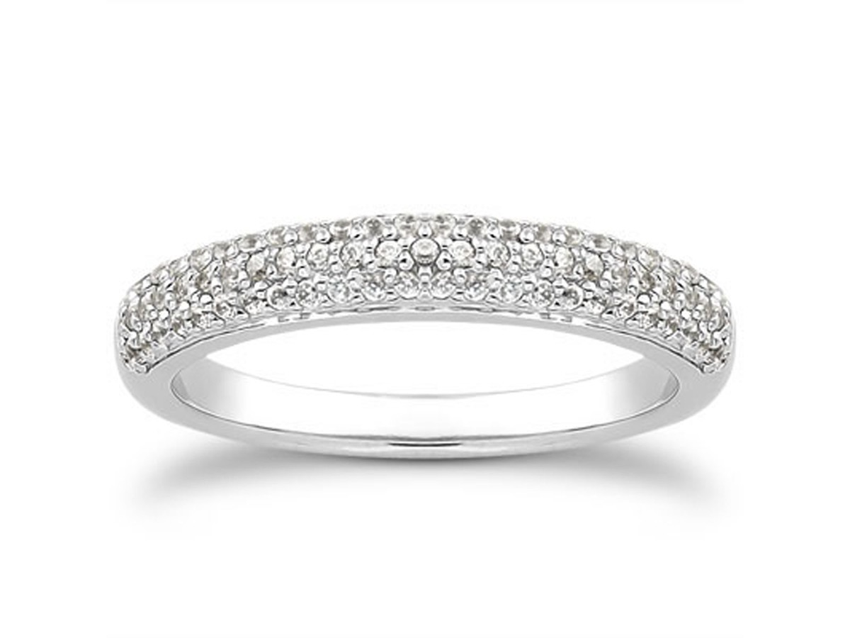 row micro pave wedding ring band in 14k