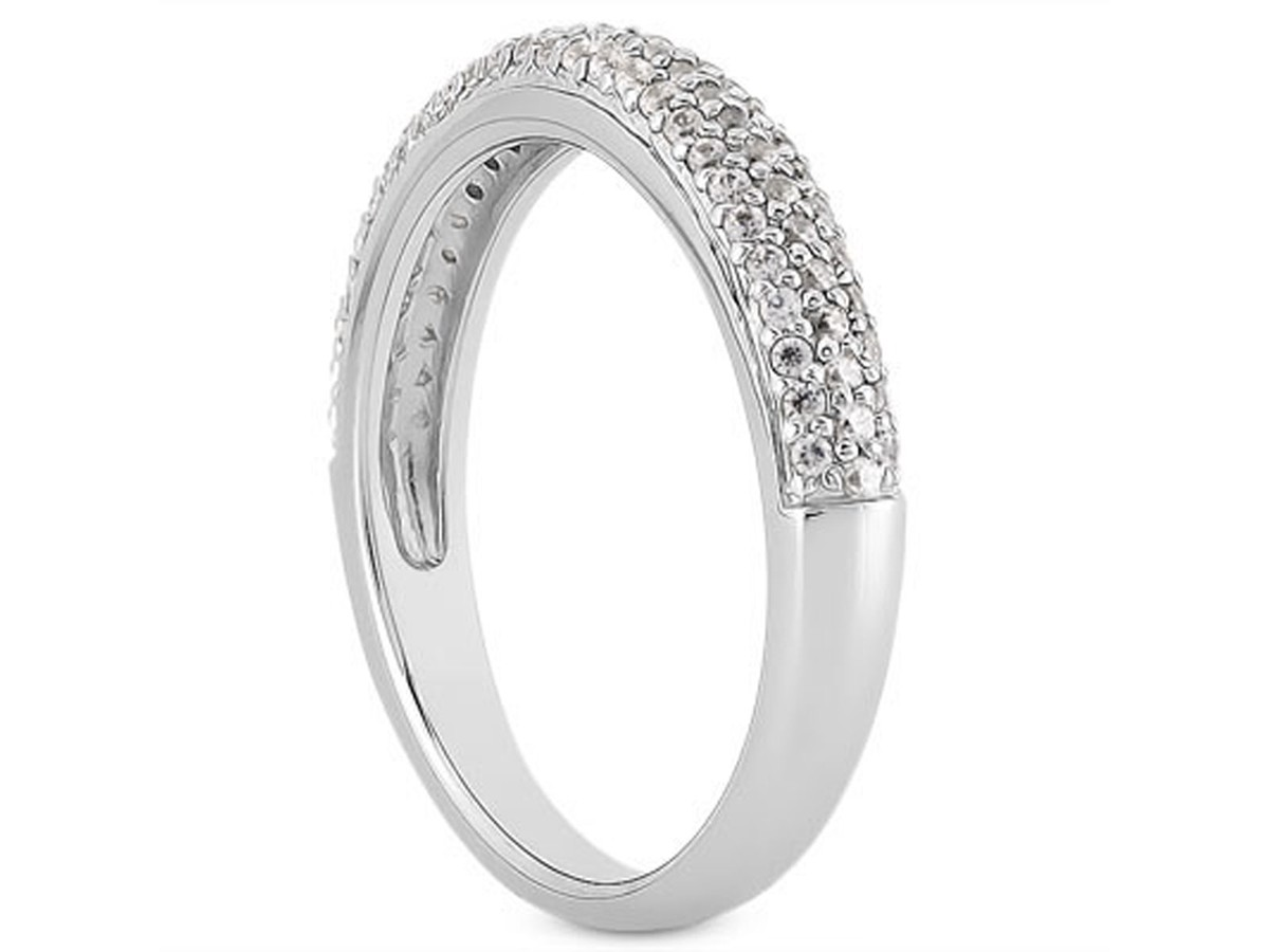 Triple Row Micro- Pave Diamond Wedding Ring Band in 14K White Gold ...