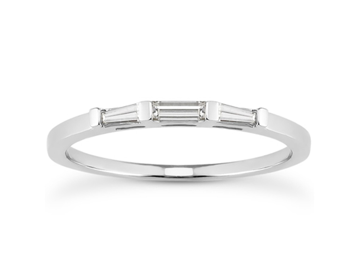 Thin Tapered Baguette Diamond Wedding Band in 14K White Gold