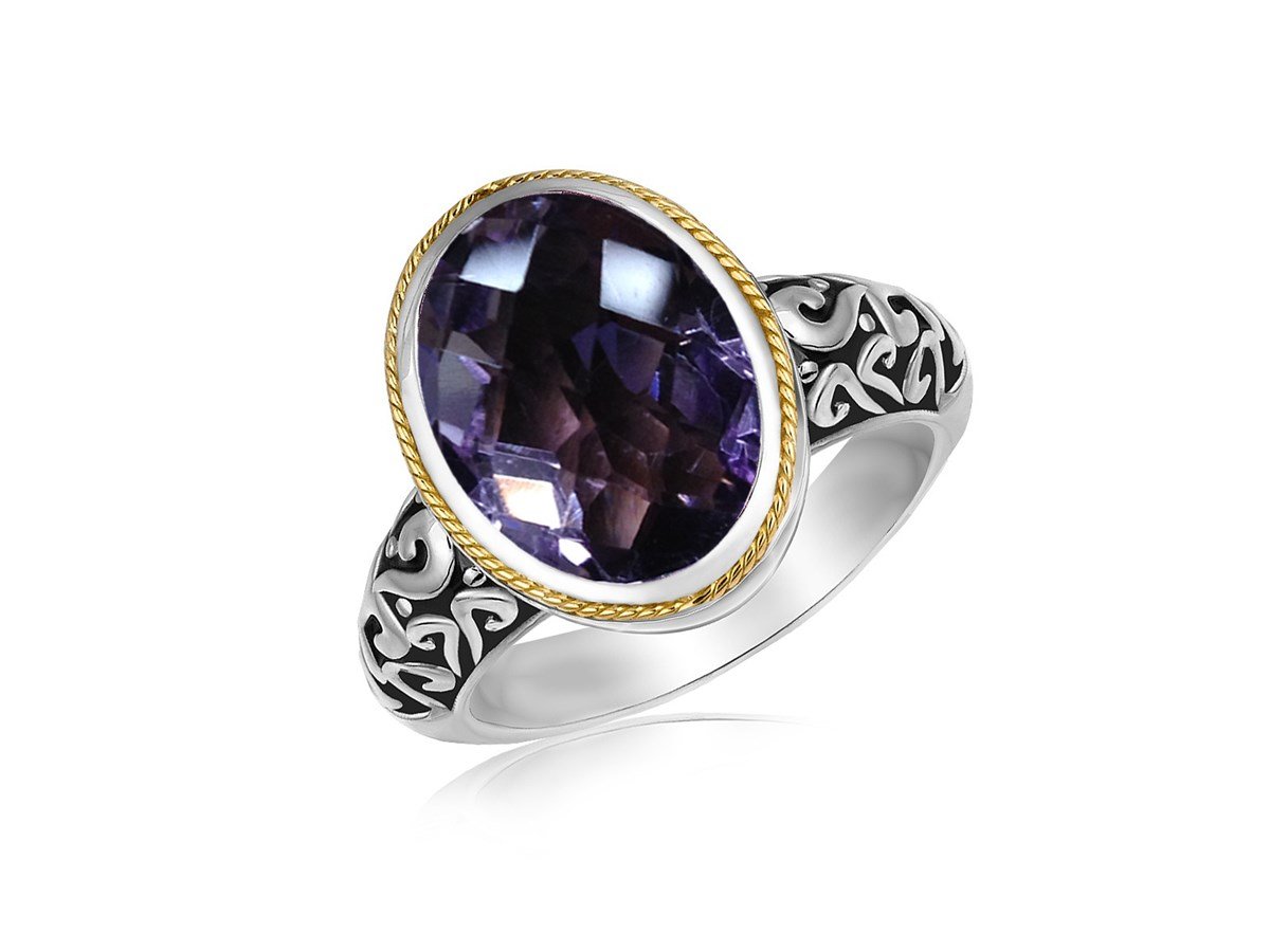 Oval Pink Amethyst Ring In 18k Yellow Gold And Sterling