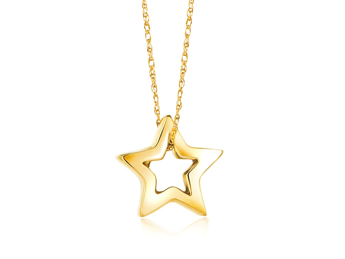 Open Star Pendant In 14K Yellow Gold