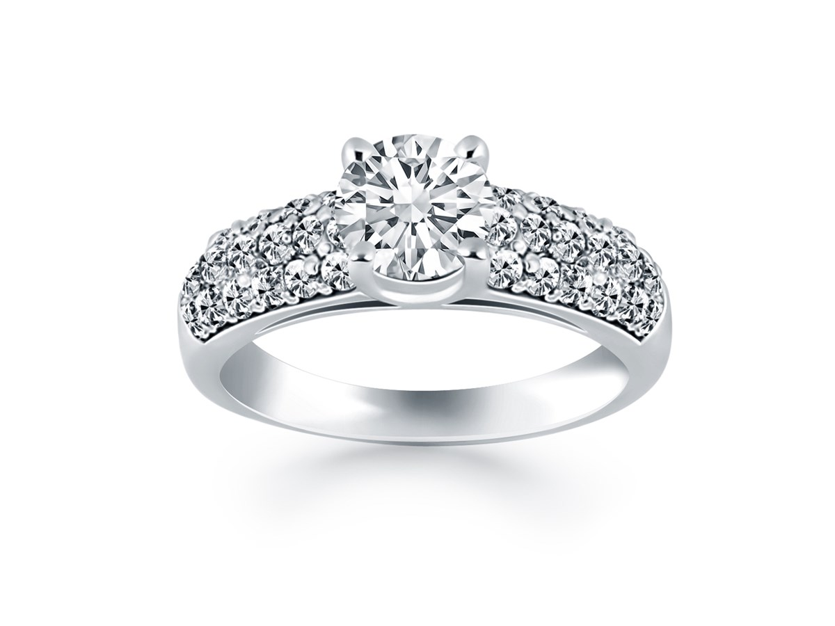 Tapered Pave Diamond Wide Band Engagement Ring Mounting In