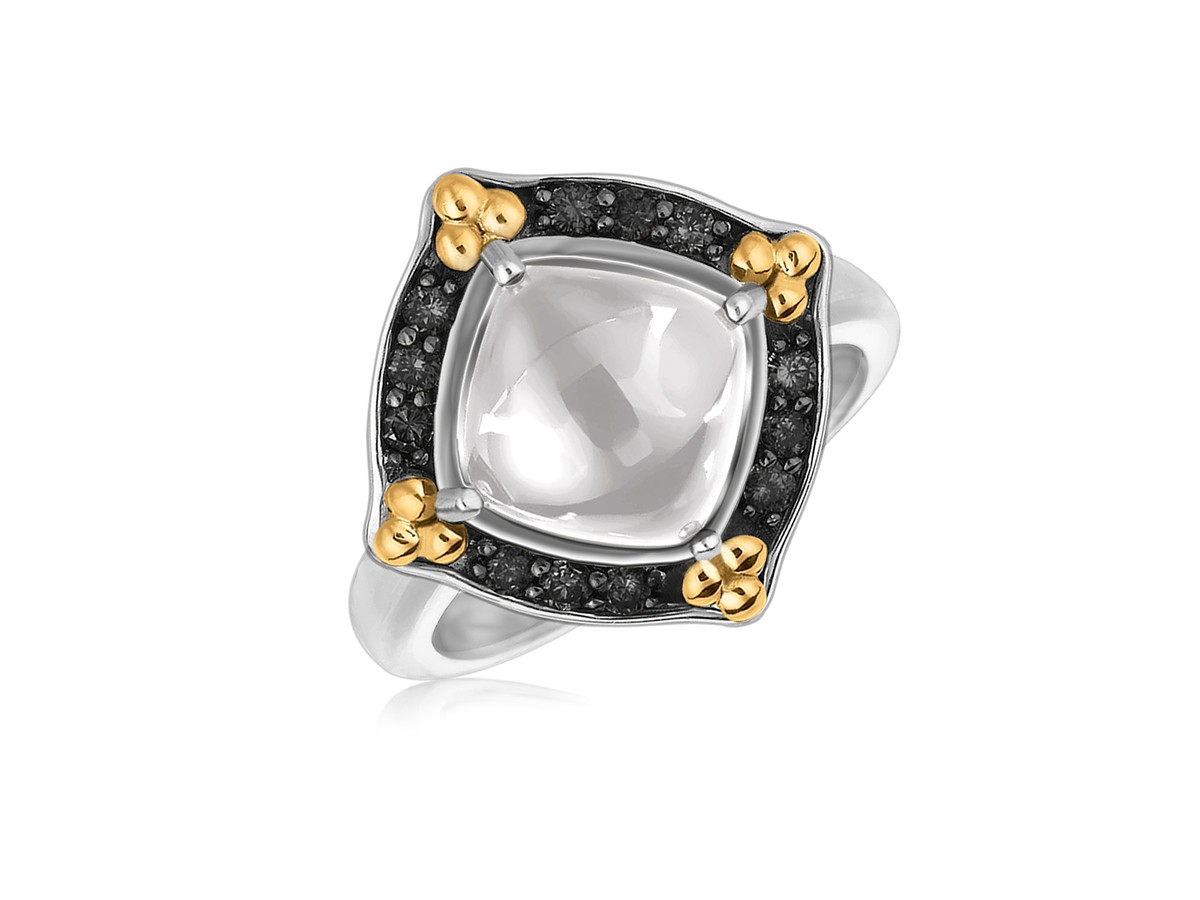 Square Rock Crystal Cabochon With Black Sapphires Ring In