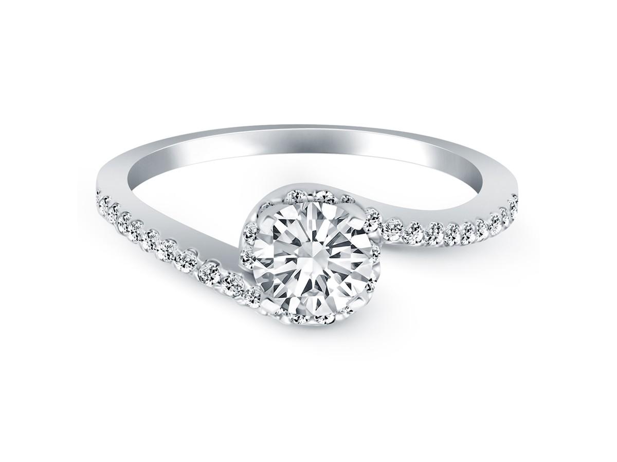 Bypass Swirl Diamond Halo Engagement Ring In 14k White Gold