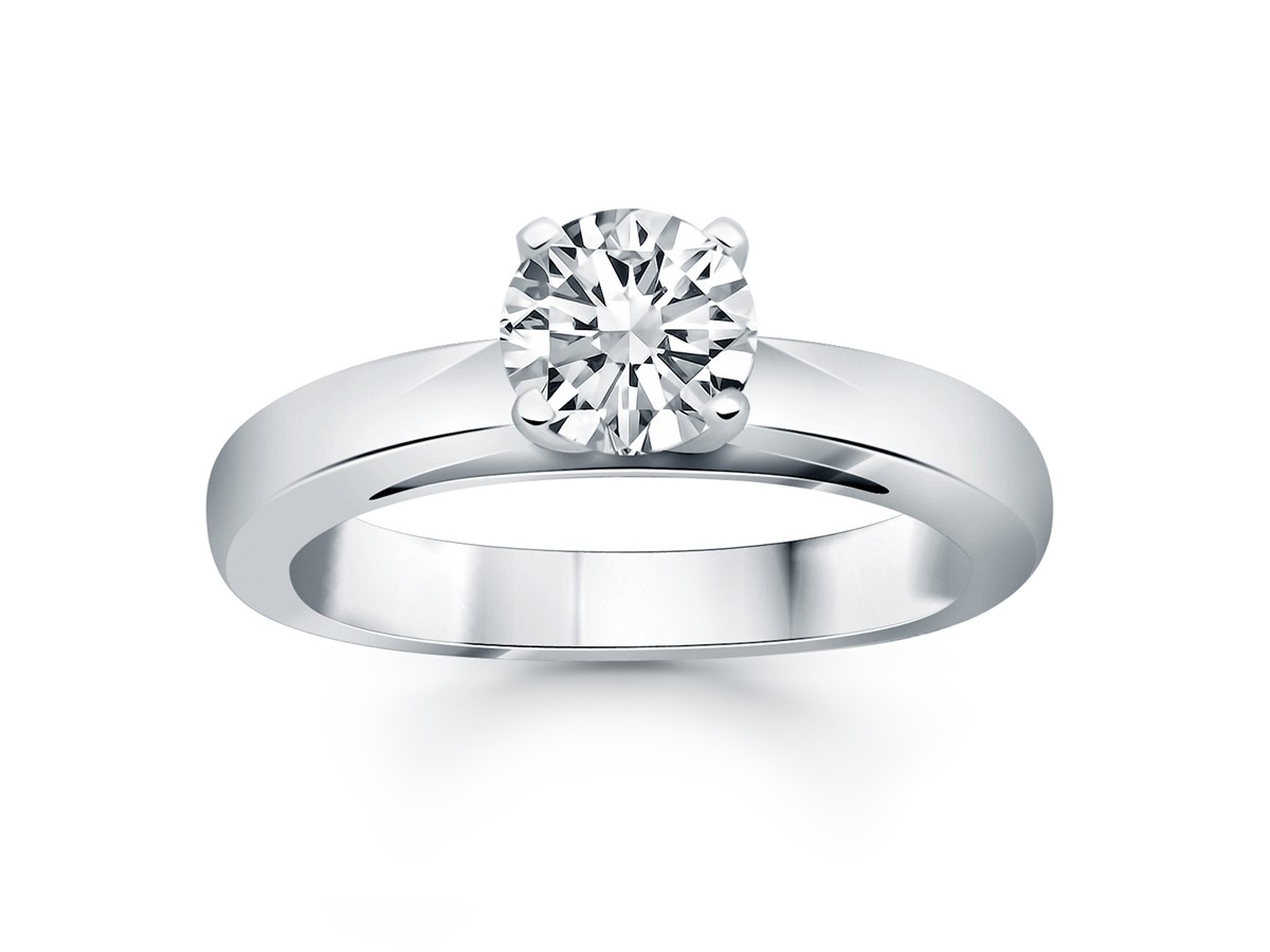 Classic Wide Band Cathedral Solitaire Engagement Ring In