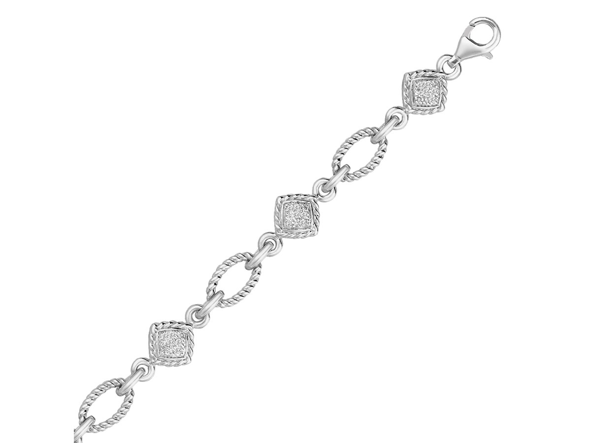 Cable Oval And Square Diamond Accented Link Bracelet In