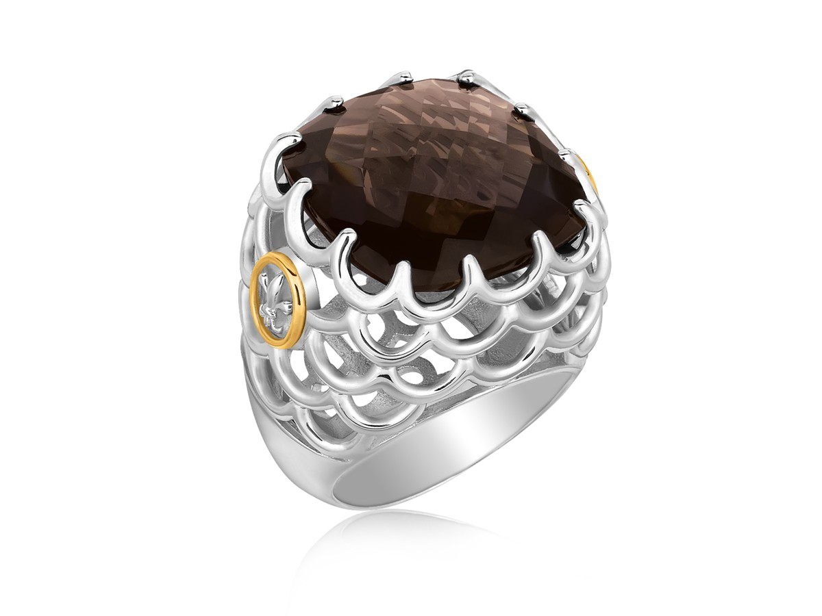 Square Smokey Quartz Chunky Ring In 18k Yellow Gold And