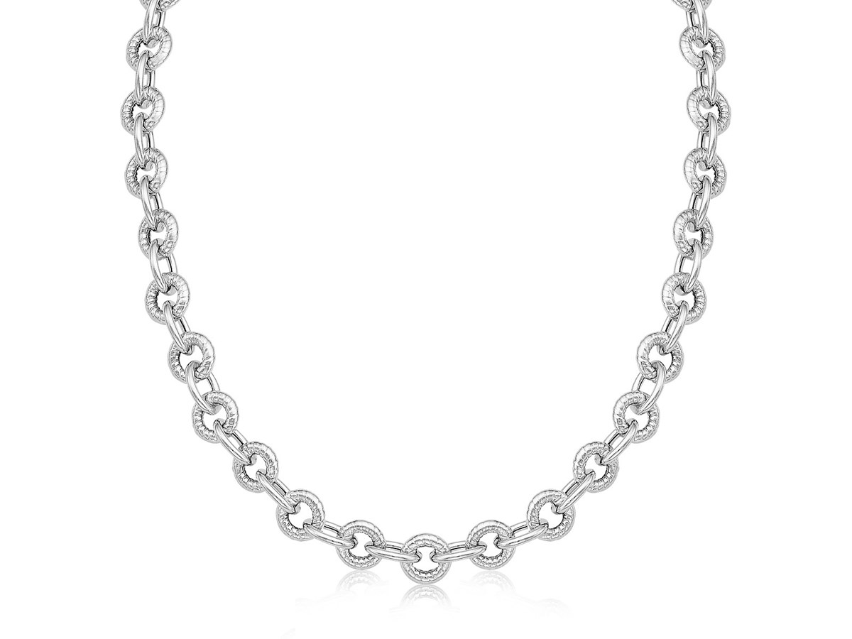 Cable Style Round Chain Link Necklace In Sterling Silver