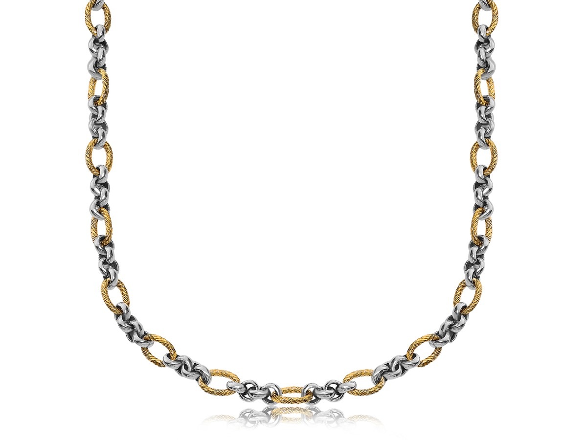 Oval Cable and Polished Rolo Chain Necklace in 18K Yellow ...