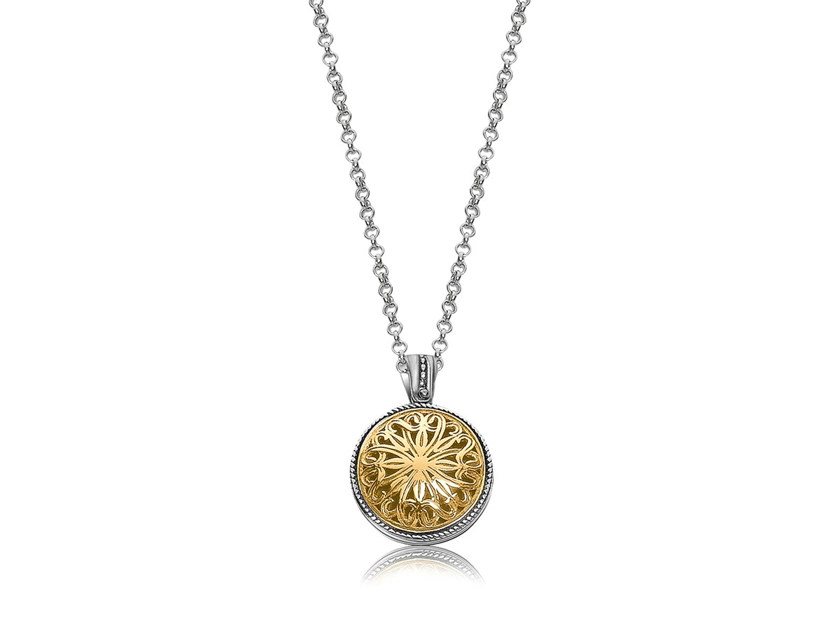 Celtic Motif Round Pendant In 18k Yellow Gold And Sterling