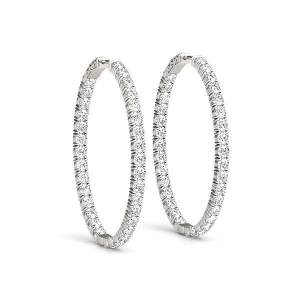 Oval Shape Two Sided Diamond Hoop Earrings In 14k White Gold 2 Cttw