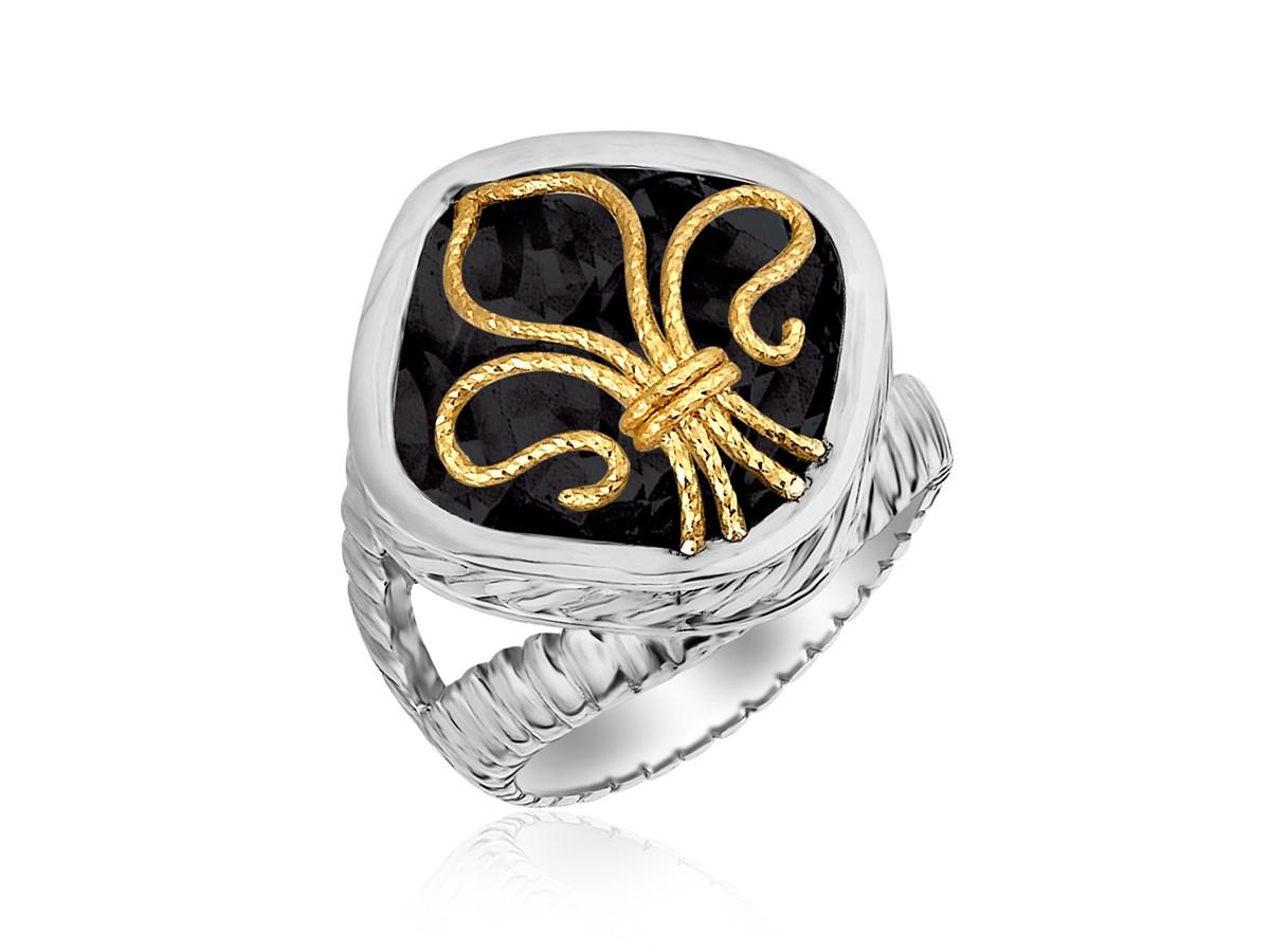 string fleur de lis with black onyx ring in 18k yellow
