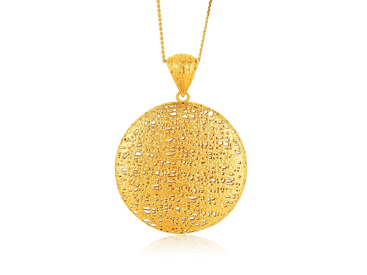 Freeform weave circle pendant with bail in 14k yellow gold richard freeform weave circle pendant with bail in 14k yellow gold aloadofball Images