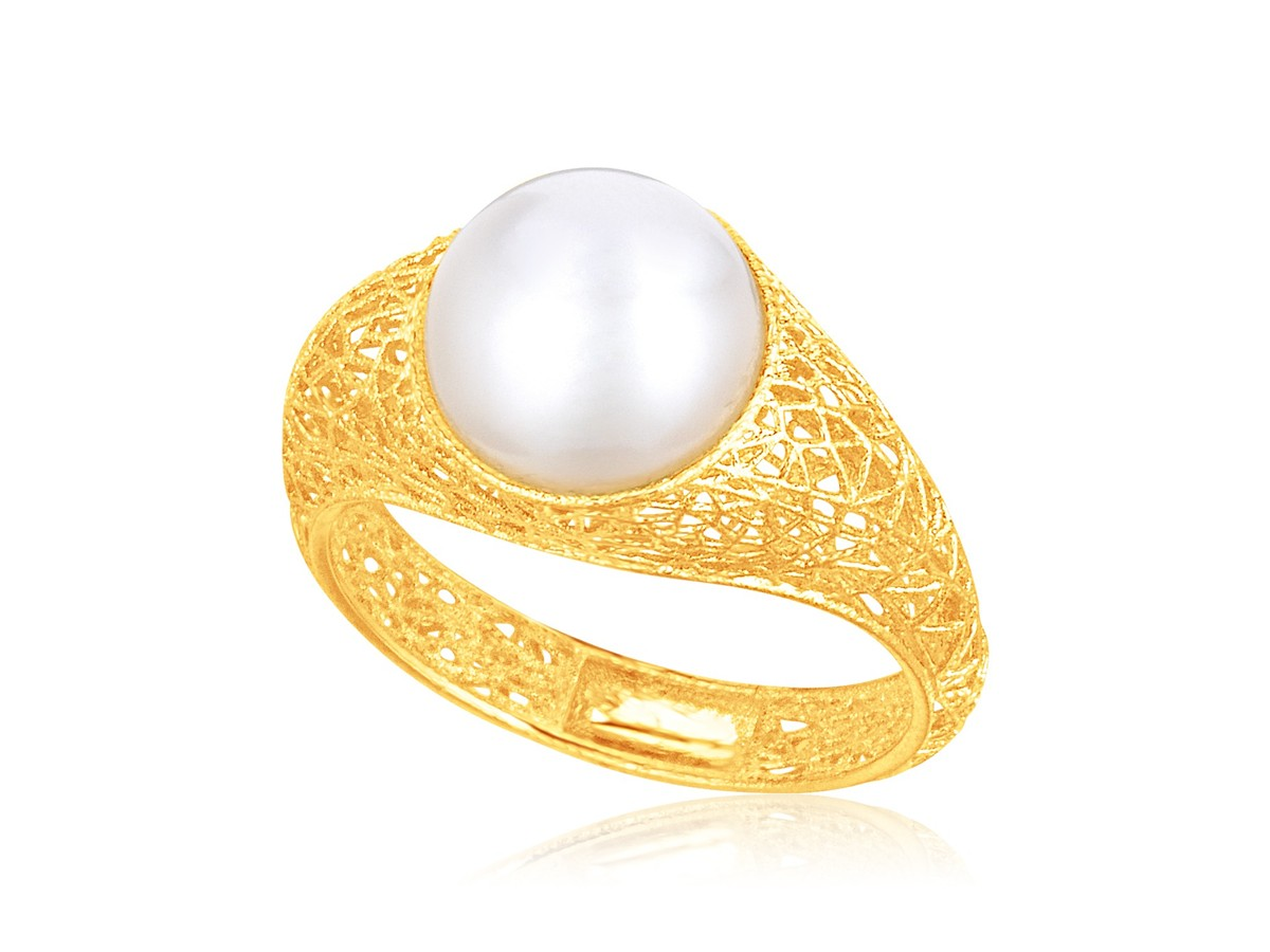 Cultured Pearl Lace Ring In 14k Yellow Gold Richard