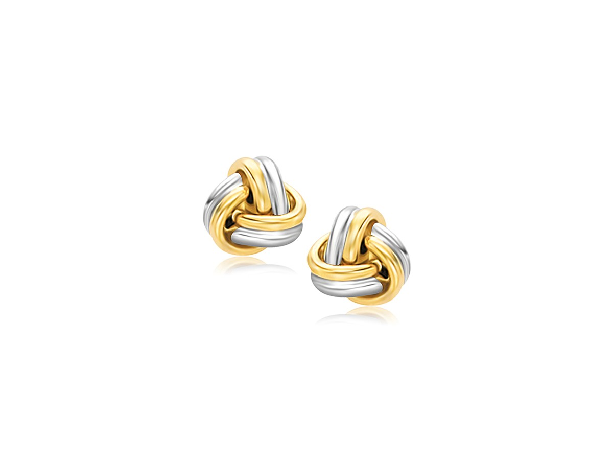 Polished Love Knot Stud Earrings In 14k Two Tone Gold
