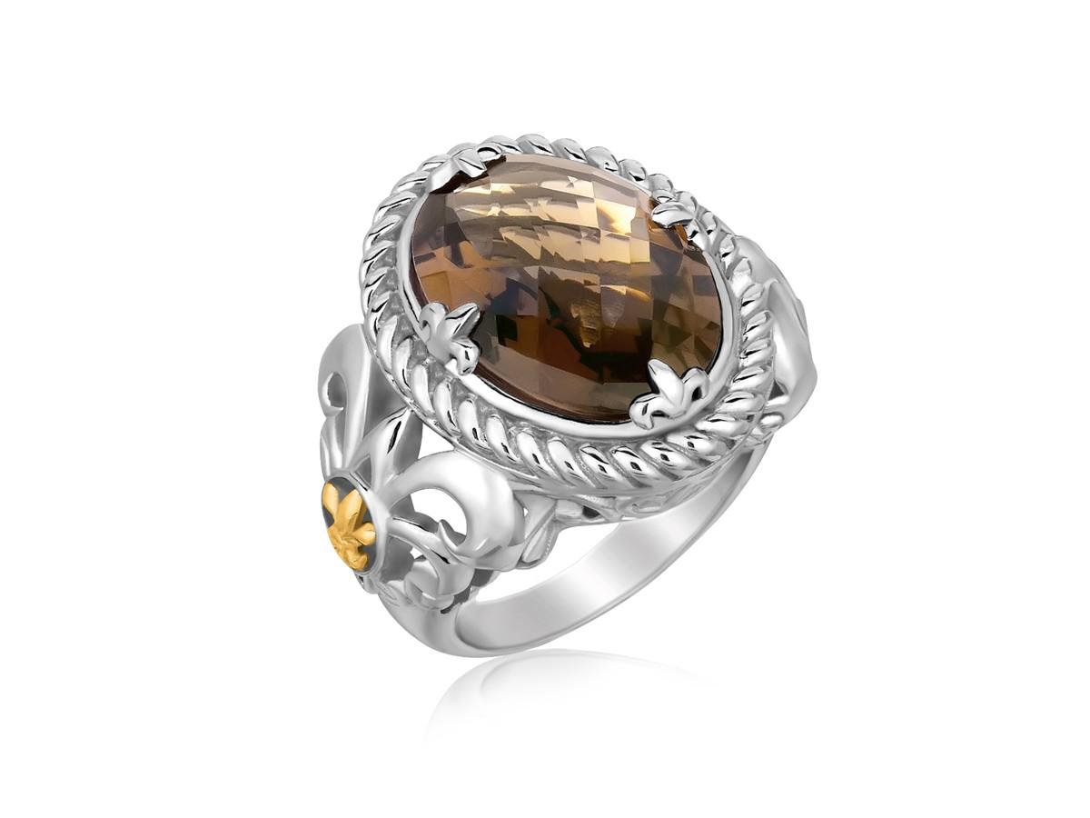 Oval Smokey Quartz Fleur De Lis Ring In 18k Yellow Gold