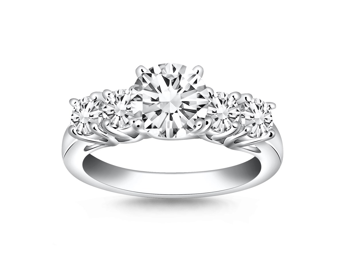 Five Stone Diamond Trellis Engagement Ring In 14k White