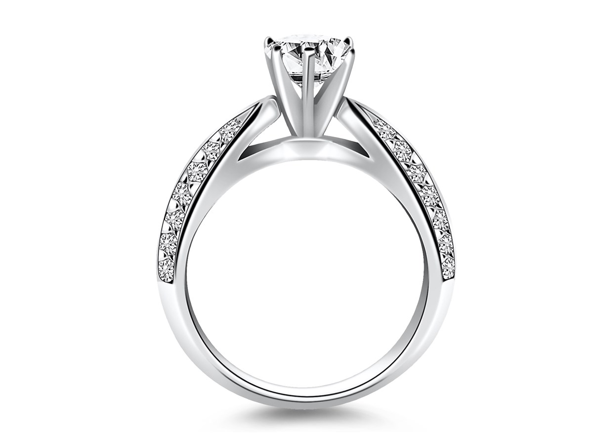 Cathedral Double Row Pave Diamond Engagement Ring Mounting