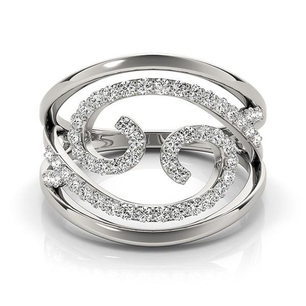 Swirl Design Diamond Ring In 14k White Gold 1 2 Cttw